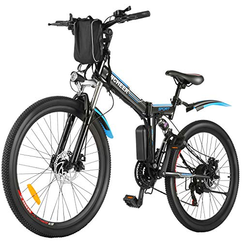 ANCHEER 26'' Folding Electric Mountain Bike, Electric Bike with 36V 8Ah Lithium-Ion Battery, Premium Full Suspension and 21 Speed Gears Commuting Ebike