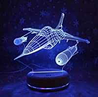 3Dエアプレーン7色の変更男の子の子供のための3DビジュアルLEDナイトライトギフトタッチUSBテーブルランプ