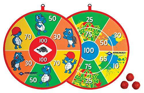 Schildköt Soft Dart Set, 1 Klett-Dartscheibe, beidseitig mit unterschiedlichen Zielfeldern bedruckt, 2 x 3 Klettbälle für 2 Spieler, 970140