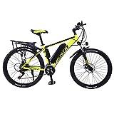 BAIYIQW Ebike para Adulto Motor 36V350 / Carga rápida 4 h, conducción 50 km, 70 km, 90 km/Peso Ligero 25 kg, Soporte de Carga 120 kg/Marco de aleación de Aluminio,Yellow 10ah,21 Speed