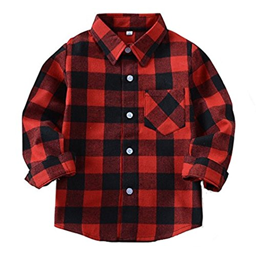 HAOKTY Jungen Mädchen Langarm Hemden Plaid Kariert Freizeithemd Tops Baumwolle Sweat Shirt (Color 1, 110)
