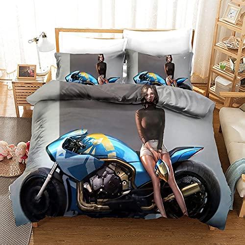 3D Sexy Bikini Lady Biancheria da Letto Sexy Anime Cool Locomotiva Bellezza Copripiumino 260x220 King Size Reversibile Set Piumone Queen Twin 3 Pezzi The Comfy Home Textiles,Super King(260*220)