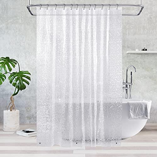 Duschvorhang Transparent 180x200 cm, Feagar Duschvorhänge Shower Curtains mit 12 Duschvorhangringen & 3 Magnete|Duschvorhang Durchsichtig Antischimmel Wasserdicht für Dusche & Badewanne