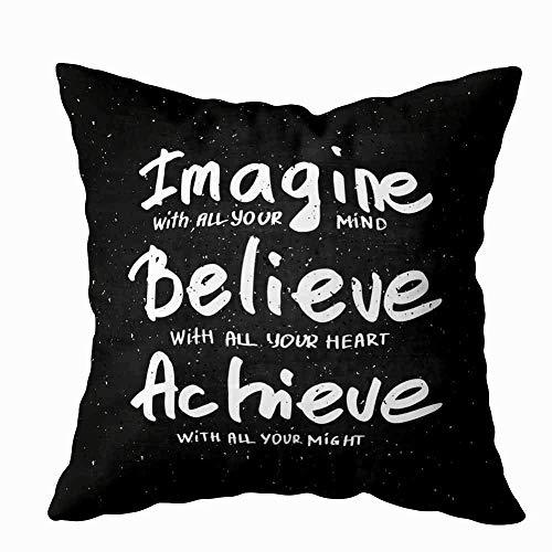 Funda de almohada para el hogar, 50,8 x 50,8 cm, diseño conceptual con frase escrita a mano, Imagine Believe Achieve, pizarra, decoración gráfica, fundas de almohada con cremallera para sofá cama