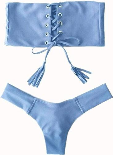 Qiusa Nouveau Bikini Bikini Lady Triangle Split, Bleu, L (Couleuré   -, Taille   -)