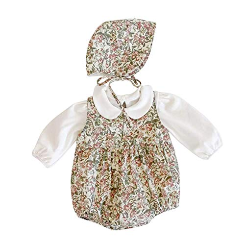 Conjunto de 3 piezas – Bata – Pelele – Beguin – Bebés – Estampado floral – 6 meses a 24 meses – Buena calidad – Marca francesa – Verde Inglés – 12/18 meses