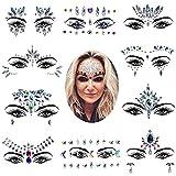 10 sets Mermaid Face Gems Glitter, Rhinestone Rave Festival Face Jewels, Cristales Face Stickers para Eyes Face Body Tatuajes temporales 17 * 14cm-c