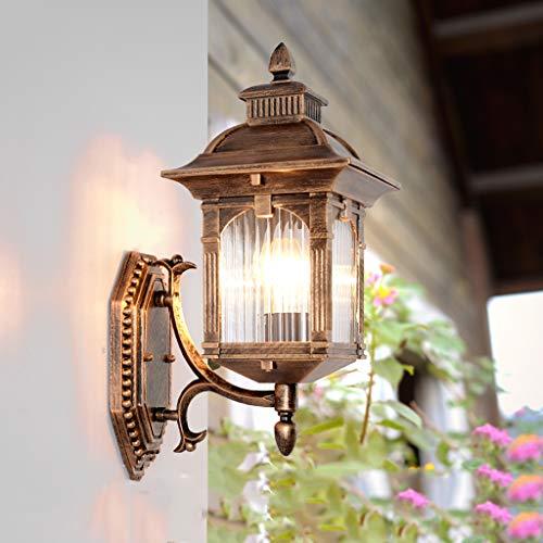 Lámpara de soporte lámpara de pared impermeable exterior europea lámpara de canal LED moderna estadounidense, lámpara de pared de plataforma de escalera de vidrio metálico creativo nórdico(40x23cm)