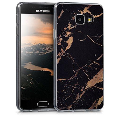 kwmobile Hülle kompatibel mit Samsung Galaxy A3 (2016) - Handyhülle - Handy Case Marmor Schwarz Gold