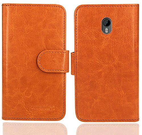 FoneExpert® Moto G3 Handy Tasche, Wallet Hülle Flip Cover Hüllen Etui Ledertasche Lederhülle Premium Schutzhülle für Motorola Moto G (3. Generation) (Wallet Orange)