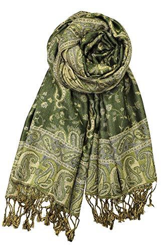 Achillea Soft Silky Reversible Paisley Pashmina Shawl Wrap Scarf w/Fringes (Dark Olive)