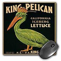 3dRose LLC 8 x 8 x 0.25インチ マウスパッド、キングペリカンアイスバーグレタスと緑のペリカンが王冠をかぶっている-(mp_171131_1)