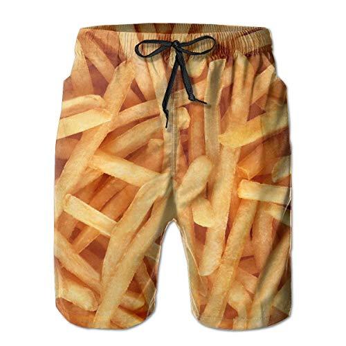 EU Herren Pommes Frites Badehose Strandshorts Hose mit Mesh-Futter Taschen für Herren XL
