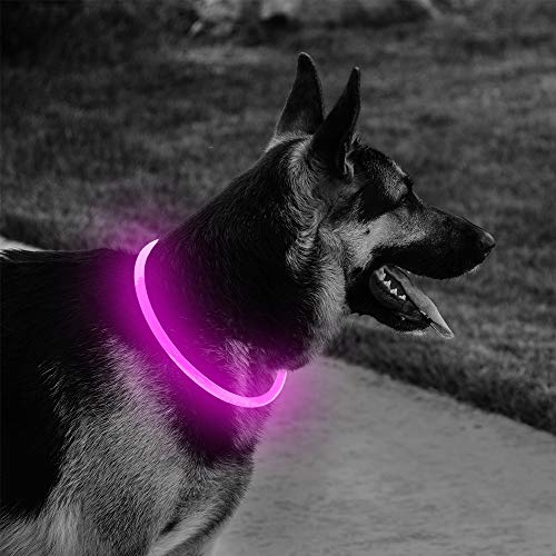 Domi Glowing LED Dog Collars-USB Rechargeable Flashing Pet Collars Keep Yours Dogs Be Seen&Be Safe Adjustable Size TPU Light Up Dog Collars (Pink)