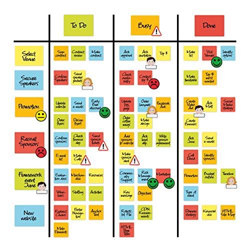 2DOBOARD Scrum und Kanban Board Set für Whiteboard - Beschreibbare Magnete, Magnetlinien, Avatar-, Gefahren- und Smiley Magnete - Scrum Magnete zum Beschriften - Basic Set 122 Teile