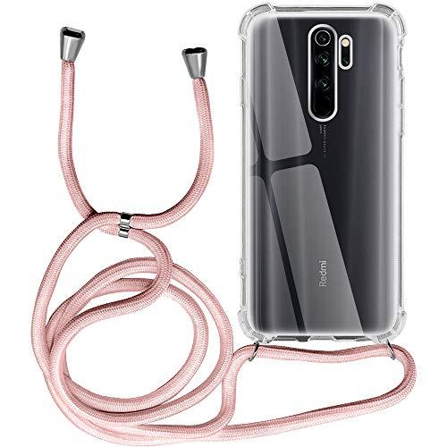 Funda para Xiaomi Redmi Note 8 Pro, Transparente Silicona Carcasa con Cuerda para Redmi Note 8 Pro, Rosyheart Suave TPU Gel Case con Cuerda para Colgar Ajustable Anti Golpes Protector Case, Oro Rosa