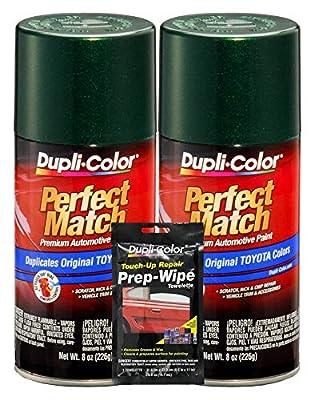 Dupli-Color Dark Green Mica Exact-Match Automotive Paint for Toyota Vehicles - 8 oz, Bundles Prep Wipe (3 Items)