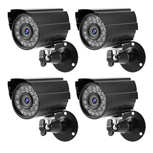 4pcs CCTV PAL Cámara Bullet Camera, 1080P 2MP AHD/TVI/CVI/CVBS Cámara de vigilancia de Seguridad híbrida 4 en 1 HD IR Impermeable, con 24pcs LED Infrarrojos(Enchufe DE LA UE)