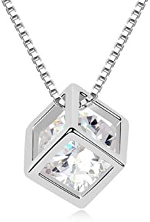 Winter's Secret Austrian Crystal Love Square Silver Plated Zircon Necklace Delicate Fashion Jewelry