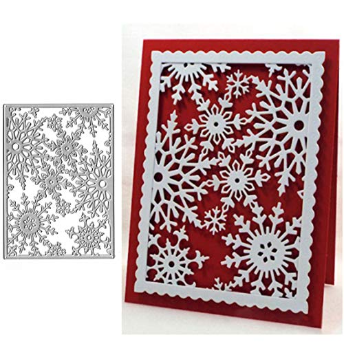 Christmas Snowflake Metal Die Cuts,Frame Snow Flower Cutting Dies Cut Stencils for DIY Scrapbooking Album Decorative Embossing Paper Dies for Card Making
