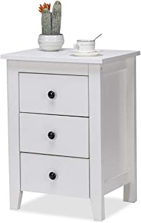 Nightstand Side End Tables, WATERJOY Modern Accent Table Drawer Cabinet for Bedroom Living Room (3 Drawers, White) (1)