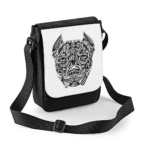 bubbleshirt Mini Borsa a Tracolla Pitbull - Dog - Idea Regalo - in Poliestere Misura 18x22 cm