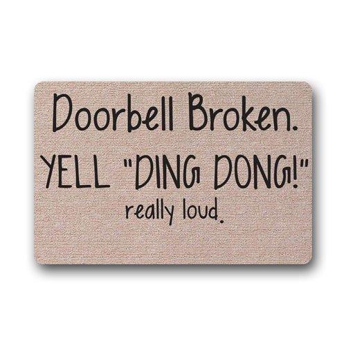 Timbre Broken Yell Ding Dong Really Loud - Felpudo personalizado (39,7 x 59,6 cm)
