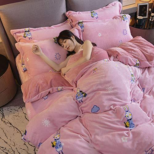 geek cook Bedding sets king,Coral velvet four-piece flannel double-sided suede winter duvet cover milk velvet plus velvet thick crystal velvet-Miss Rabbit_2.0m bed (quilt cover 220 * 240cm)