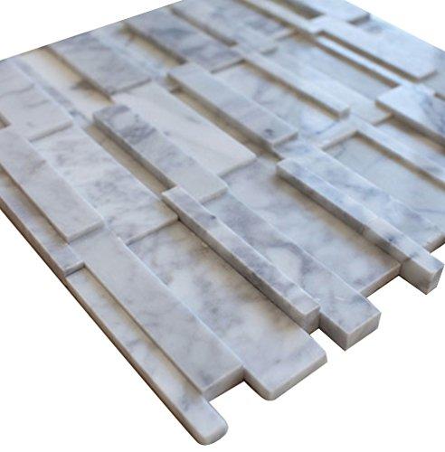 White Carrara Split Face Stone Tile Mosaics for Bathroom and Kitchen Walls Kitchen Backsplashes (Free Shipping)