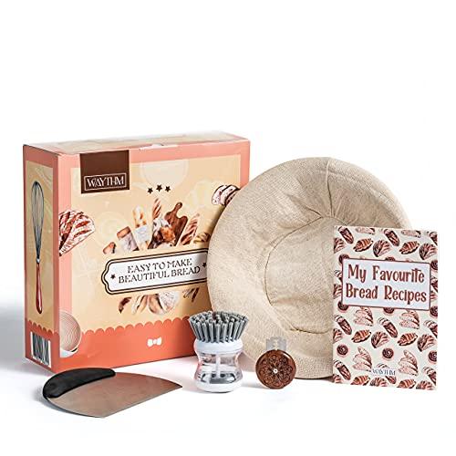 Waythm - Banneton redondo para pan (mimbre natural, 25 x 8,5 cm) - Se vende con ropa de lino para la pasta de pan, cuchillo de panadería, rasqueta de pasta, pincel y cuaderno de notas.