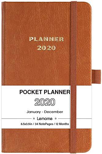 Agenda 2020,Diario A6 con Pagine di Note, Bonus A6 agenda 12 schede mensili e Tasca Interna