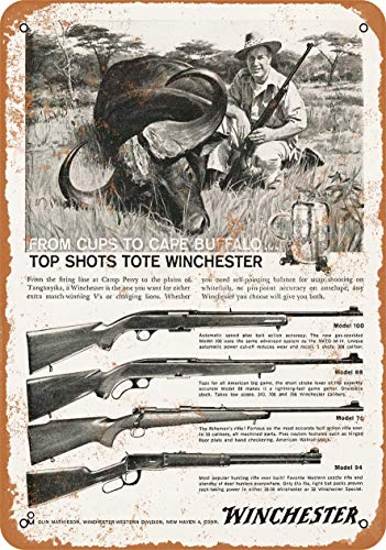 Amai store 16 x 12 Retro Metal Tin Sign - 1960 Winchester Rifles - Vintage Exterior Home Decoration