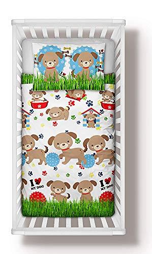Nursery Baby Bedding Set 4-Piece incl Duvet + Pillow + Duvet Cover + Pillowcase Little Dogs Puppies (90x120 cm)