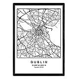 Drucken Stadtplan Dublin skandinavischen Stil in schwarz
