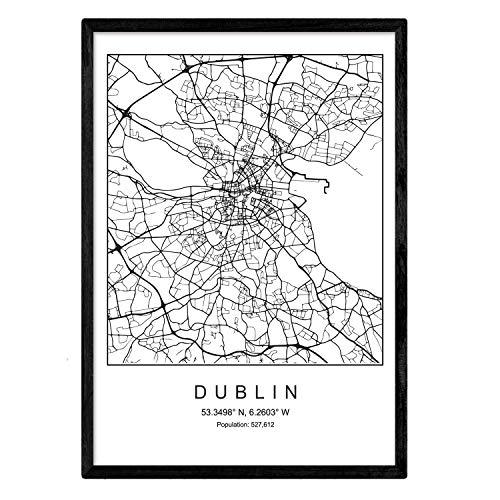 Lámina mapa de la ciudad Dublin estilo nordico en blanco y negro. Poster tamaño A3 Enmarcado con marco negro Impreso papel 250 gr. Cuadros, láminas y posters para salon y dormitorio