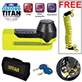 OXFORD OF51 Titan Security Bicycle Motorbike Motorcycle Disc Lock and Pouch Yellow +