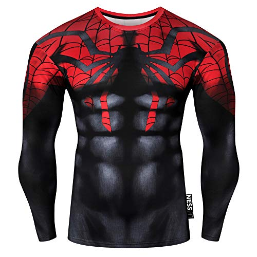 Nessfit Superhero - Camiseta de compresión para hombre, manga larga, para gimnasio, capa base, entrenamiento, fitness, camiseta térmica