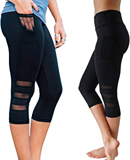 Bodybay Women's High Waist Cropped Leggings with Pocket Yoga Capri Tummy Control Pants with Mesh Workout Gym