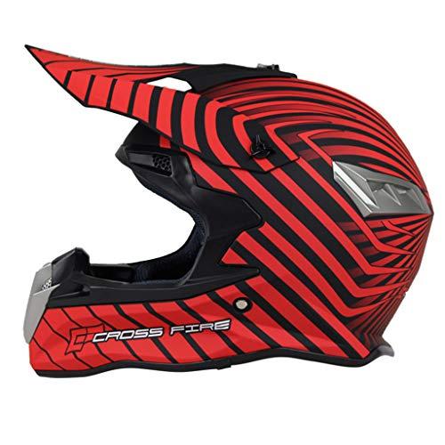 GHMH-helmet Hiver Plein air Moto Casque intégral sécurité Chaude Couverture intégrale Quatre Saisons Moto Unisexe Casque (Couleur : Red, Taille : S)