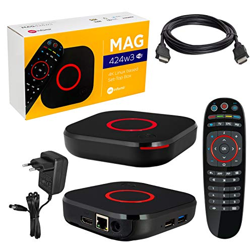 MAG 424w3 Infomir & HB-DIGITAL 4K IPTV Set Top Box Lecteur multimédia Internet TV IP Récepteur 4K UHD 60FPS 2160p@60 FPS HDMI 2.0 HEVC H.256 Arm Cortex-A53 WiFi WiFi (802.11n/AC) + câble HDMI