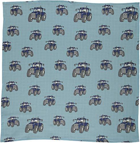 Smafolk Tuch allover Traktor Print 70 x 70 cm hellblau