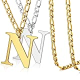 BELLALULU Initial Necklaces 2 Pieces Cuban Chain 23.6 Inches Letter Pendant 13.8 Inches. Golden Silver Letter Necklace is A Gift for Father and Son Or Couples, Personalized Hip-hop Cool Style (N)