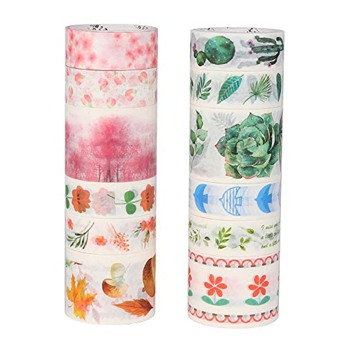 Molshine 12Rolls(Length 6.6ft/Roll) Washi Masking Tape Set,Adhesive Paper,Crafts Tape for DIY,Planners,Scrapbook,Object Decorative,Collection,Gift Wrapping-Flower Plant Series