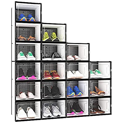 YITAHOME XL Shoe Storage Box, Set of 18 Shoe Storage Organizers Stackable Shoe Storage Box Rack Containers Drawers - X-Large Size