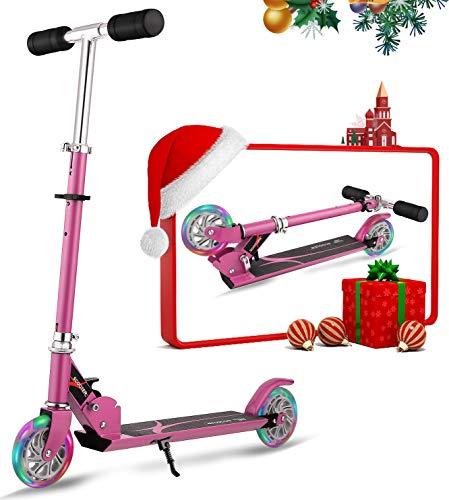 Oppikle Scooter Kinder Roller Tretroller Cityroller Kick Scooter Klappbar Mit Led Big Wheel Kugellager ABEC 7,Tragkraft 176 Lb (DE Inventar) (Pink mit Ständer)