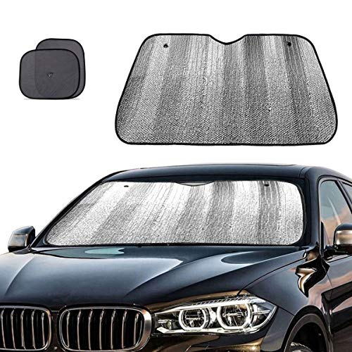 Big Ant Windshield Sun Shade + Bonus Car Window Sun Shade -Best Car Sun Shade to Keeps Vehicle Cool-UV Ray Protector Sunshade Fit for Cars SUV Trucks Minivans(55.1 x 27.5 inches)