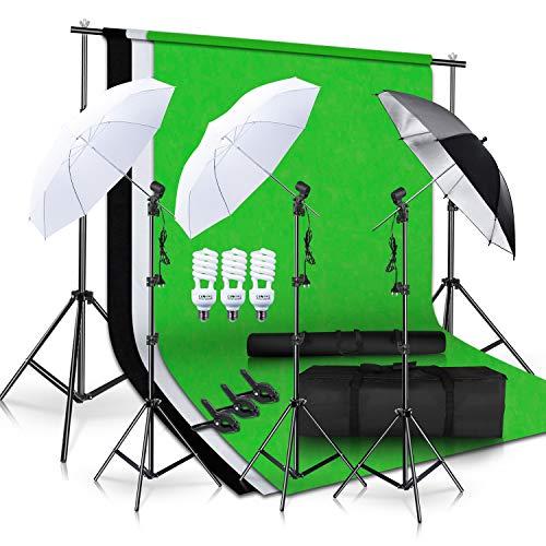 SH Photo Studio Double Off Camera Speedlight Flash Umbrella Kit, Photography Tripod Brackets for Photography Photo Video Studio Lighting Flash Translucent White Soft Umbrella