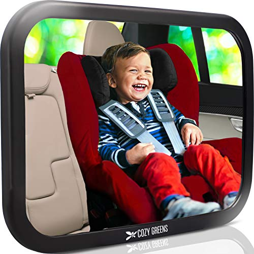 Shatterproof Baby Car Mirror, Fully View Infant in Rear Facing Car Seat - Newborn Safety, Crash Tested & Extra Wide, Crystal Clear, 100% Lifetime Satisfaction Guarantee, Easy to Install by COZY GREENS