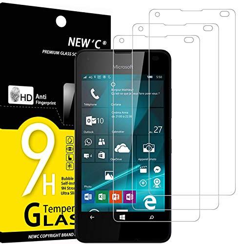 NEW'C 3 Pezzi, Vetro Temperato Compatibile con Nokia Microsoft Lumia 550, Pellicola Prottetiva Anti Graffio, Anti-Impronte, Durezza 9H, 0,33mm Ultra Trasparente, Ultra Resistente