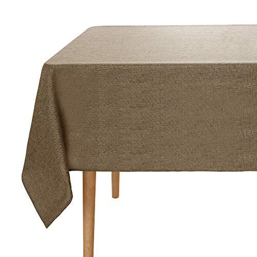 UMI. by Amazon Tovaglia in Tessuto Lino Impermeabile Antimacchia Protegge Il Tavolo dal Calore per Tavolo Rettangolare 150x150cm Grigio Scuro